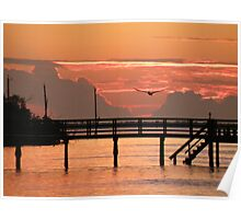 Sunset and the Fishing Dock Poster