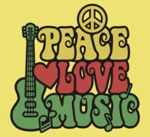 Reggae Peace Love Music Kids Clothes