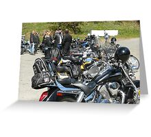 Bikers at Scooters Cafe Greeting Card