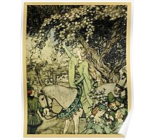 The romance of King Arthur and his knights of the Round Table art Arthur Rackham 1917 0517 How Queen Guenever Rode a Maying Poster