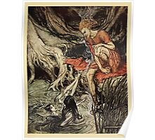 The Rhinegold & The Valkyrie by Richard Wagner art Arthur Rackham 1910 0071 The Rhine's Pure Gleaming Children Poster