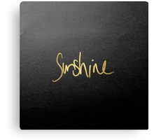 """Sunshine"" Typography in Faux Painted Gold Canvas Print"