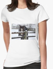 Cold horse in the snow Womens Fitted T-Shirt