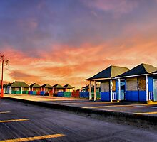 Sunset over the boxes by Cat Perkinton