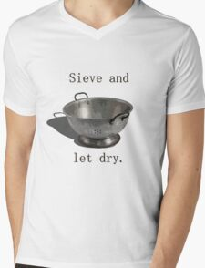 Sieve and let dry. Mens V-Neck T-Shirt