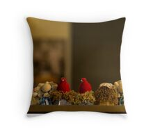 happy friends. A line of girl dolls siting and watching, from the back Throw Pillow