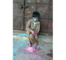 Boy at Holi Festival, Pushkar, Rajasthan,India Photographic Print