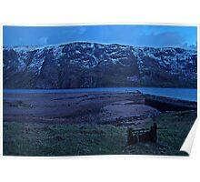 Snow Capped Ronas Hill,Ronas Voe,Shetland. Poster