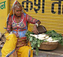 Radish seller, Pushkar, India by photoartindia