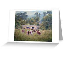 Longhorns at Pauperhaugh Bridge, Northumberlnad, England Greeting Card