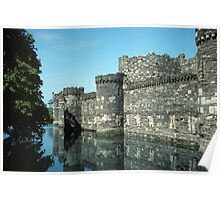 Beaumaris Castle, outer wall and moat Poster