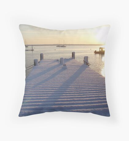 Snow on the River Crouch Throw Pillow