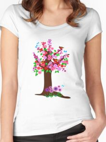 Spring tree with blossoms Women's Fitted Scoop T-Shirt