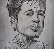 Brad Pitt caricature by Aestheticz .