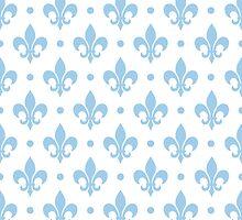 LightBlue Fleur de Lis on white background by ImageNugget