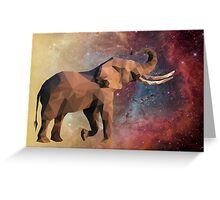 Low Poly Elephant in Space with Nebula Greeting Card