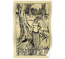The romance of King Arthur and his knights of the Round Table art Arthur Rackham 1917 0386 Lady with Sperhawk Poster