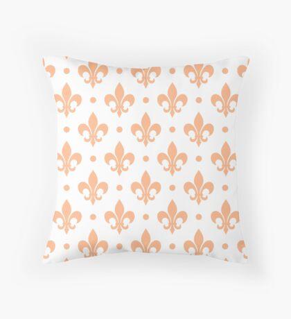 Peach Fleur de Lis on white background Throw Pillow