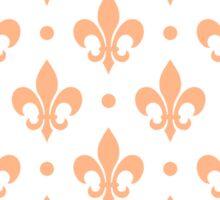 Peach Fleur de Lis on white background Sticker