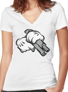 Gun Hands Women's Fitted V-Neck T-Shirt