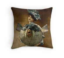 Blue Ribbon Fugu Throw Pillow