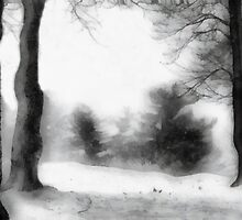 Snowy Fantasy (Ink Wash) by Bunny Clarke