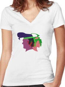 Arc V Ship Silhouette- Yuya/Gongenzaka Women's Fitted V-Neck T-Shirt