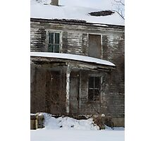 Snow covered abandoned house Photographic Print
