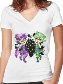 Callie and Marie No Text Women's Fitted V-Neck T-Shirt