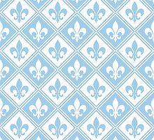 LightBlue Fleur de Lis and Diamond Pattern by ImageNugget