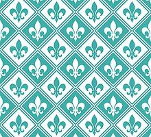 Teal Fleur de Lis and Diamond Pattern by ImageNugget