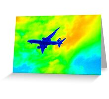 Blue Plane in Neon Sky_001 Greeting Card