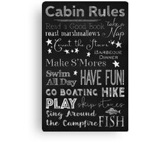 Cabin Rules Lodge Fun Chalkboard Typography Art Canvas Print