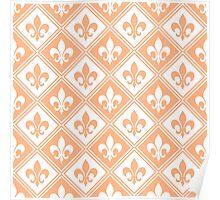 Peach Fleur de Lis and Diamond Pattern Poster