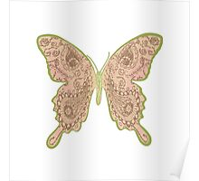Tribal Paisley Butterfly Peach Poster
