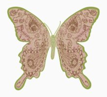 Tribal Paisley Butterfly Peach Kids Tee