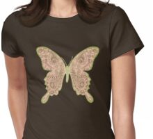 Tribal Paisley Butterfly Peach Womens Fitted T-Shirt