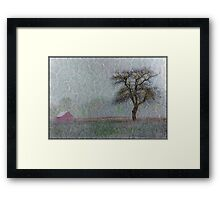 Red Barn in Snowstorm Framed Print