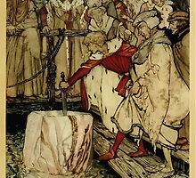 The romance of King Arthur and his knights of the Round Table art Arthur Rackham 1917 0401 Galahad and Sword in Floating Rock by wetdryvac