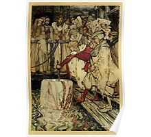 The romance of King Arthur and his knights of the Round Table art Arthur Rackham 1917 0401 Galahad and Sword in Floating Rock Poster