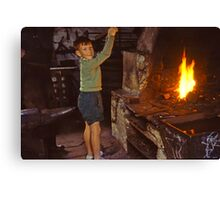 Me in Blacksmith's shop, Ardara, Co Donegal, Ireland circa 1959 Canvas Print