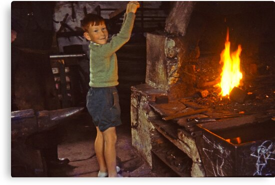 Me in Blacksmith's shop, Ardara, Co Donegal, Ireland circa 1959 by Andrew Jones