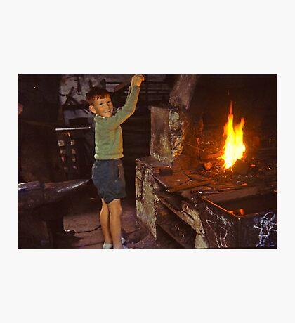 Me in Blacksmith's shop, Ardara, Co Donegal, Ireland circa 1959 Photographic Print