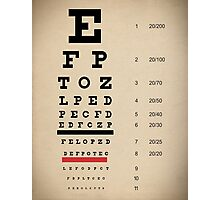 Vintage Inspired Eye Chart - Snelling Eye Chart - Visual Acuity - Distressed Canvas Background Print Photographic Print