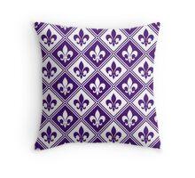 Purple Fleur de Lis and Diamond Pattern Throw Pillow