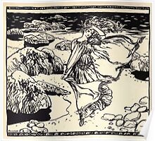 Irish Fairy Tales by James Stephans art by Arthur Rackham 1920 0292 Maiden in Wind at the Shore Poster