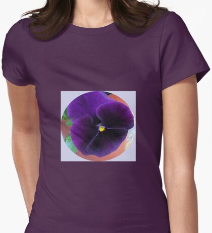 Purple Velvet - Pansy Vignette Womens Fitted T-Shirt