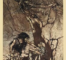 The Rhinegold & The Valkyrie by Richard Wagner art Arthur Rackham 1910 0093 Mime Howling by wetdryvac
