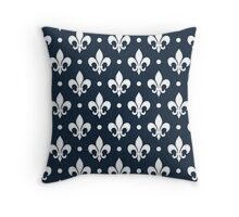 White Fleur de Lis on Navy Background Throw Pillow