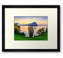 Sunset on the lake of the four cantons. Framed Print